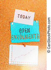 Word writing text Open Enrolments. Business concept for when employees may make changes to elected fringe benefit Corkboard color size paper pin thumbtack tack sheet billboard notice board.