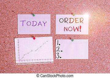 Word writing text Order Now. Business concept for confirmed request by one party to another to buy sell Corkboard color size paper pin thumbtack tack sheet billboard notice board.