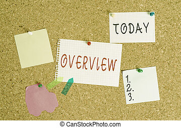 Word writing text Overview. Business concept for the general review or summary of subject project movie book Corkboard color size paper pin thumbtack tack sheet billboard notice board.
