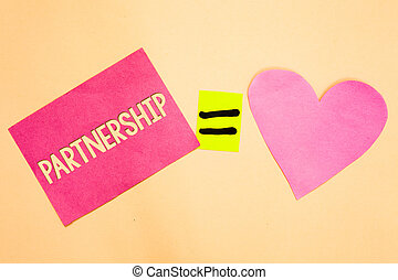 Word writing text Partnership. Business concept for Association of two or more people as partners Cooperation Unity Drawing calculation solve equality symbol love heart text card paper work.
