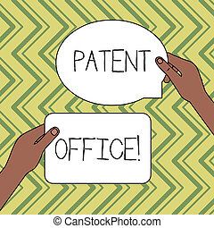 Word writing text Patent Office. Business concept for a government office that makes decisions about giving patents Two Blank Figured Tablets Signs Held in Hands One Above Other Text Space.