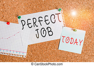 Word writing text Perfect Job. Business concept for a job that brings you satisfaction and recognize your importance Corkboard color size paper pin thumbtack tack sheet billboard notice board.