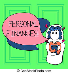 Word writing text Personal Finances. Business concept for analysisagement of money and financial decisions for demonstrating Girl Holding Book with Small Hearts Around her and Two Color Speech Bubble.