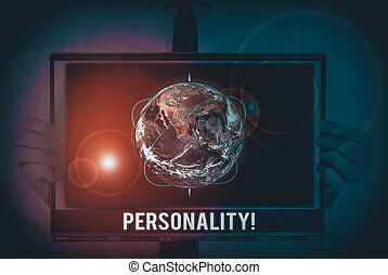 Word writing text Personality. Business concept for combination characteristics that form individuals character Picture photo system network scheme modern technology smart device. Elements of this image furnished by NASA.