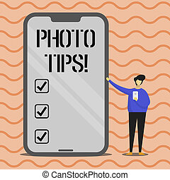Word writing text Photo Tips. Business concept for Suggestions to take good pictures Advices for great photography.