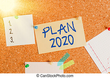 Word writing text Plan 2020. Business concept for detailed proposal doing achieving something next year Corkboard color size paper pin thumbtack tack sheet billboard notice board.
