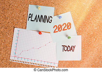 Word writing text Planning 2020. Business concept for process of making plans for something next year Corkboard color size paper pin thumbtack tack sheet billboard notice board.