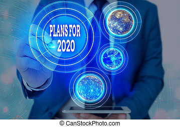 Word writing text Plans For 2020. Business concept for an intention or decision about what one is going to do Elements of this image furnished by NASA.