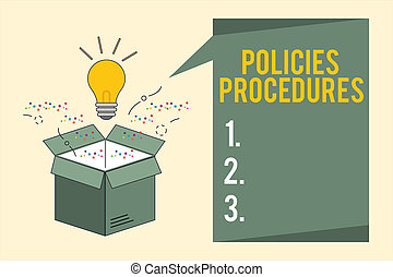 Word writing text Policies Procedures. Business concept for Influence Major Decisions and Actions Rules Guidelines