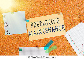 Word writing text Predictive Maintenance. Business concept for designed to help determine the condition of equipment Corkboard color size paper pin thumbtack tack sheet billboard notice board.