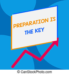 Word writing text Preparation Is The Key. Business concept for it reduces errors and shortens the activities One blank rectangle above another arrow zigzag upwards increasing sale.