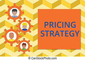 Word writing text Pricing Strategy. Business concept for set maximize profitability for unit sold or market overall Gearshaped picture frame family ornament mother father daughter son photo.