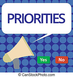 Word writing text Priorities. Business concept for Things that are regarded as more important urgent than others