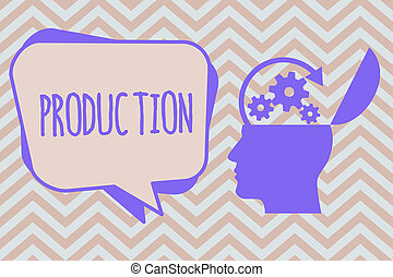 Word writing text Production. Business concept for Action of...