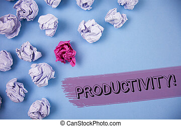 Word writing text Productivity Motivational Call. Business concept for Effective work Great perfomance Success focus written on the Painted background Crumpled Paper Balls next to it.