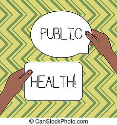 Word writing text Public Health. Business concept for government protection and improvement of community health Two Blank Figured Tablets Signs Held in Hands One Above Other Text Space.