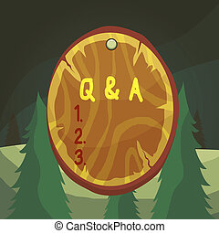 Word writing text Q And A. Business concept for defined as questions being asked and answers Oval plank rounded pinned wooden board circle shaped wood nailed background.