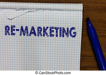 Word writing text Re Marketing. Business concept for...