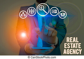 Word writing text Real Estate Agency. Business photo showcasing Business Entity Arrange Sell Rent Lease Manage Properties