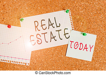 Word writing text Real Estate. Business concept for the property consisting of land and the buildings on it Corkboard color size paper pin thumbtack tack sheet billboard notice board.