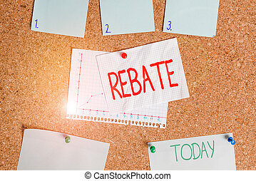 Word writing text Rebate. Business concept for Huge rewards that can get when you engaged to a special promo Corkboard color size paper pin thumbtack tack sheet billboard notice board.