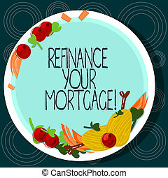 Word writing text Refinance Your Mortgage. Business concept for Replacing an existing mortgage with a new loan Hand Drawn Lamb Chops Herb Spice Cherry Tomatoes on Blank Color Plate.