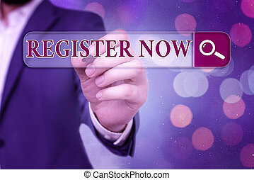 Word writing text Register Now. Business concept for ...