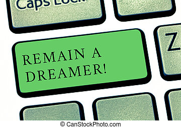 Word writing text Remain A Dreamer. Business concept for they spend lot of time thinking about and planning things Keyboard key Intention to create computer message pressing keypad idea.