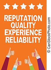 Word writing text Reputation Quality Experience Reliability. Business concept for Customer satisfaction Good Service Men women hands thumbs up approval five stars information orange background.