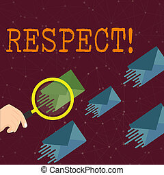 Word writing text Respect. Business concept for Feeling of deep admiration for someone or something Appreciation Magnifying Glass on One Different Color Envelope and others has Same Shade.