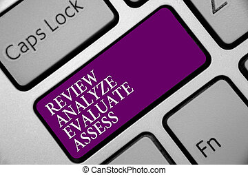 Word writing text Review Analyze Evaluate Assess. Business concept for Evaluation of performance feedback process Keyboard purple key Intention create computer computing reflection document.