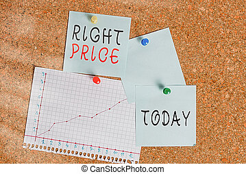 Word writing text Right Price. Business concept for the amount of money that it is reasonable for the product Corkboard color size paper pin thumbtack tack sheet billboard notice board.