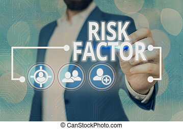 Word writing text Risk Factor. Business concept for Characteristic that may increase the percentage of acquiring a disease Information digital technology network connection infographic elements icon.