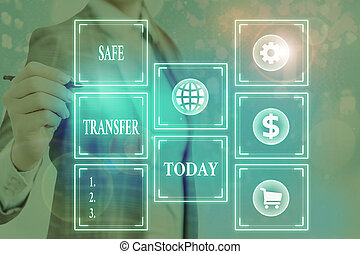 Word writing text Safe Transfer. Business concept for electronic funds transfer from one demonstrating to another.
