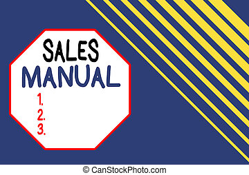 Word writing text Sales Manual. Business concept for set of ...