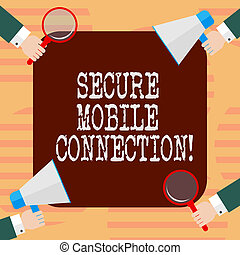Word writing text Secure Mobile Connection. Business concept for Encrypted by one or more security protocols Hu analysis Hands Each Holding Magnifying Glass and Megaphone on 4 Corners.