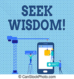 Word writing text Seek Wisdom. Business concept for ability to think act using knowledge experience understanding Staff Working Together for Common Target Goal with SEO Process Icons.