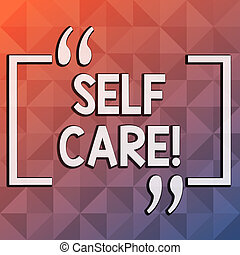 Word writing text Self Care. Business concept for practice of taking action preserve or improve ones own health Infinite Multi Tone Color Triangle Shape in Pyramid Pattern with Dimension.