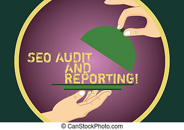 Word writing text Seo Audit And Reporting. Business concept for Search Engine Optimization review feedback Hu analysis Hands Serving Tray Platter and Lifting the Lid inside Color Circle.