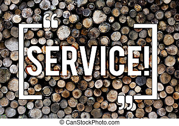 Word writing text Service. Business concept for Helping somebody Supporting Provide Transportation Communication Wooden background vintage wood wild message ideas intentions thoughts.