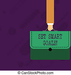 Word writing text Set Smart Goals. Business concept for list to clarify your ideas focus efforts use time wisely Businessman Hand Carrying Colorful Briefcase Portfolio with Stitch Applique.