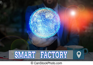 Word writing text Smart Factory. Business concept for A highly digitized and connected production facility Elements of this image furnished by NASA.