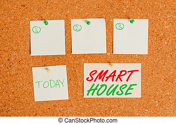 Word writing text Smart House. Business concept for homes that have electronic devices and controlled remotely Corkboard color size paper pin thumbtack tack sheet billboard notice board.