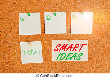 Word writing text Smart Ideas. Business concept for A thought or collection of thoughts that generate in the mind Corkboard color size paper pin thumbtack tack sheet billboard notice board.