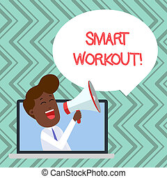 Word writing text Smart Workout. Business concept for set a goal that maps out exactly what need to do in being fit Man Speaking Through Laptop into Loudhailer Blank Speech Bubble Announce.