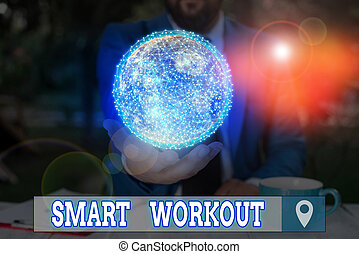 Word writing text Smart Workout. Business concept for set a goal that maps out exactly what need to do in being fit Elements of this image furnished by NASA.