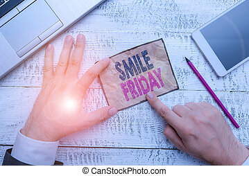 Word writing text Smile Friday. Business concept for used to express happiness from beginning of fresh week.