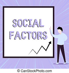 Word writing text Social Factors. Business photo showcasing Things that influences lifestyle Cultural Differences View young man standing pointing up blank rectangle Geometric background