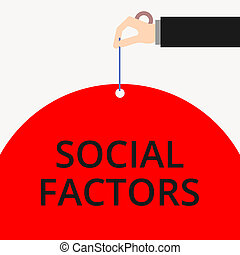 Word writing text Social Factors. Business photo showcasing Things that influences lifestyle Cultural Differences Male hand arm needle punching big half blank balloon geometrical background