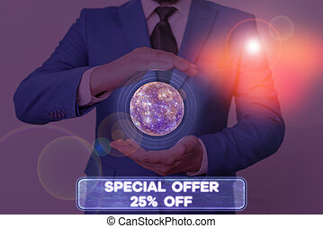 Word writing text Special Offer 25 Off. Business photo showcasing Discounts promotion Sales Retail Marketing Offer Elements of this image furnished by NASA